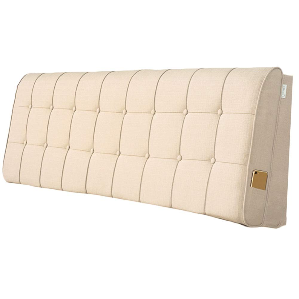A With headboard-200cm WENZHE Upholstered Fabric Headboard Bedside Cushion Pads Cover Bed Wedges Backrest Waist Pad Cloth Soft Case Home Hotel Backrest Washable, 4 colors, 2 Kinds Inssizetion Method