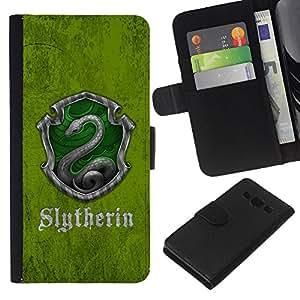 KLONGSHOP // Tirón de la caja Cartera de cuero con ranuras para tarjetas - Slytherin Escudo - Samsung Galaxy A3 //