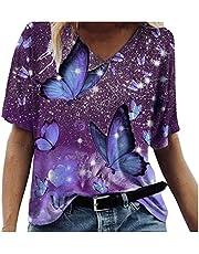 ADMAY Dames T-shirts zomer 3D print tuniek blouse bovenstuk meisjes V-hals losse korte mouwen bovenstuk oversized shirt top S-3XL