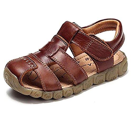 Otamise Boys' Closed-Toe Strap Sandals Stylish Summer Beach Shoes Hollow Leisure Fisherman Sandals Brown (Brown Leather Fisherman Sandals)