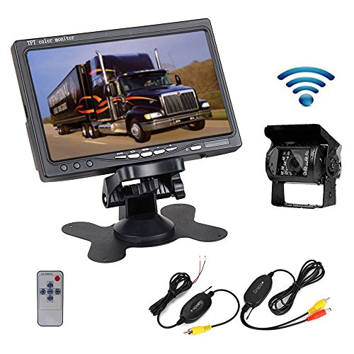 Camecho RC 12V 24V Car Vehicle Rear View Wireless IR Night Vision Backup Camera Waterproof Kit + 7″ TFT LCD Monitor Parking Assistance System For Truck / Van / Caravan / Trailers / Camper