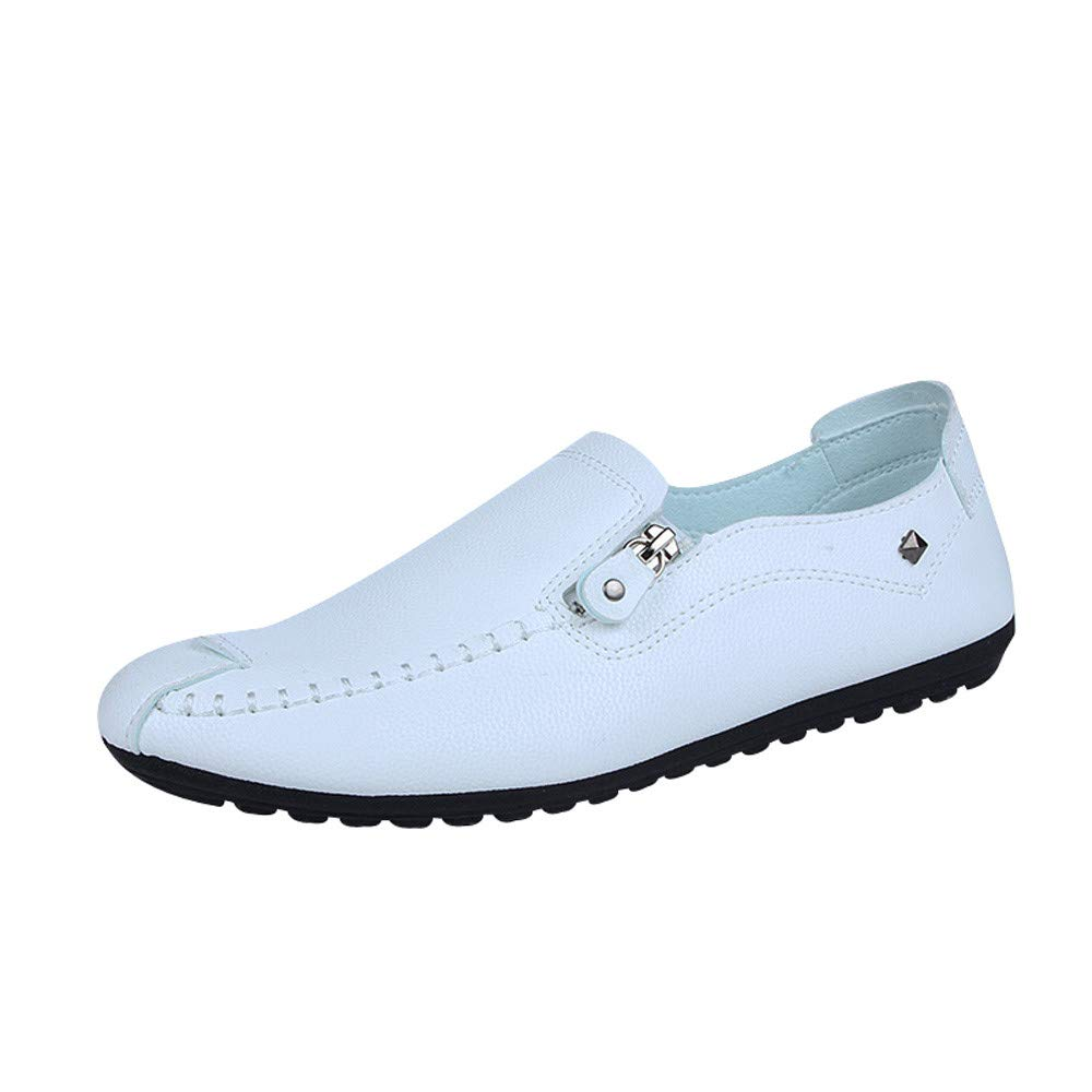 Hunzed Men【Flat Leather Shoes】 Men's Slip On Leather Shoes Fashion Casual Slip-On Driving Dress Loafers Shoes huz