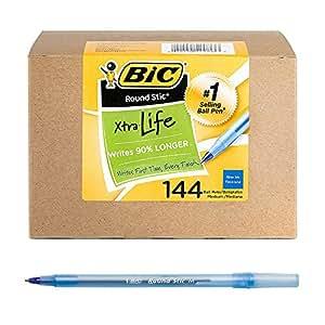 BIC Round Stic Xtra Life Ball Pen, Medium Point (1.0mm), Blue, 144-Count