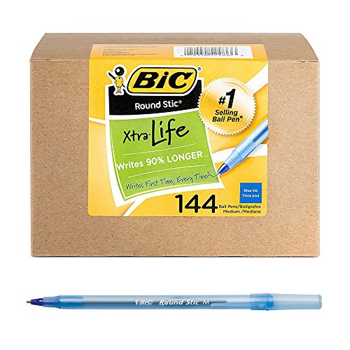 BIC Round Stic Xtra Life Ballpoint Pen, Medium Point (1.0mm), Blue, 144-Count