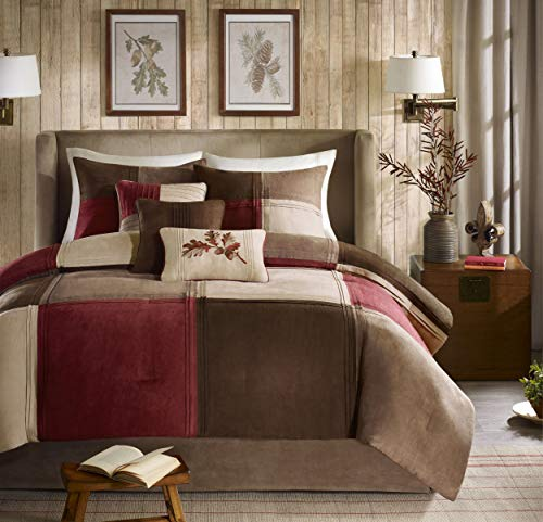 Madison Park Jackson Blocks King Size Bed Comforter Set Bed in A Bag - Burgundy, Tan, Pieced Colorblock - 7 Pieces Bedding Sets - Faux Suede Bedroom Comforters (Renewed)