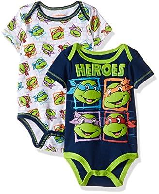 Nickelodeon Baby Boys' Teenage Mutant Ninja Turtle 2 Pack Bodysuit Layette Set-Blue