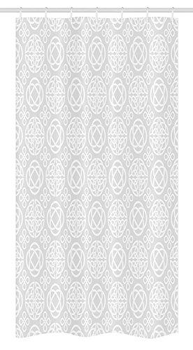 COVASA Celtic Stall Shower Curtain, Tribal Celtic Knots Eternity Forms Pattern Boho Ireland Irish Cross Floral Artprint, Fabric Bathroom Decor Set with Hooks, 36 W x 72 L Inches, Grey White