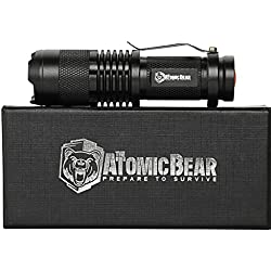 ATOMIC BEAR SWAT Tactical LED Flashlight - Small and Powerful Pocket Size LED Flashlight to Dominate the Darkness - Self Defense - Zoomable - Water Resistant Gear