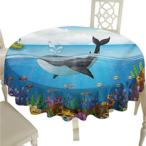 - Zodel Stain-Resistant Tablecloth Whale A Massive Whale The Master of The Oceans Themed Around Planet Nature Easy to Clean D70 Suitable for picnics,queuing,Family