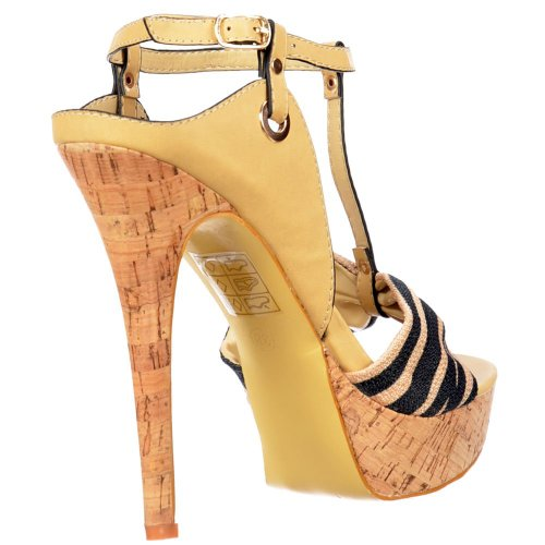 Platform Sandal Onlineshoe Negro Bar Stiletto Ladies Cork Tela Beige Detalle T Toe wYIOIaxqp
