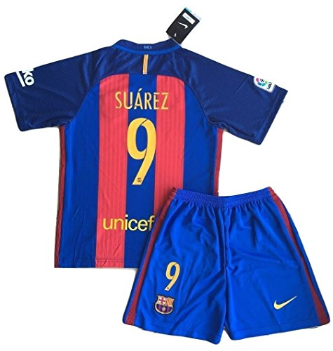 NEW #9 Suarez FC Barcelona Home Jersey with Shorts for Kids/Youth (7-8 Years Old) (Soccer Oscar Jersey Youth)