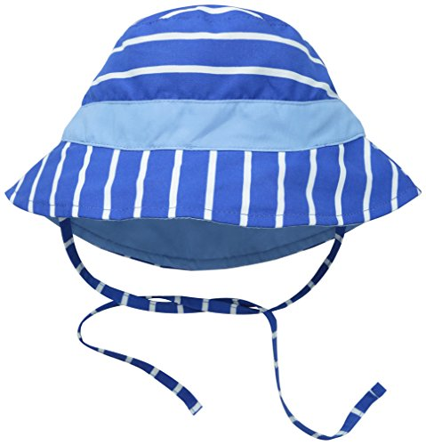 I play. Baby Reversible Bucket Sun Protection Hat, Royal Stripe, 0-6 Months