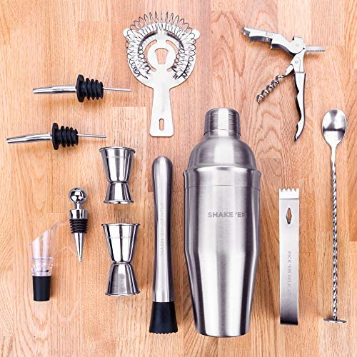 Shake Em Out Premium Cocktail Shaker Set Stainless Steel Complete Mixology Bartender Kit – Your Ultimate Home Bartending Kit For Your Home Bar With Exclusive Cocktail Recipes