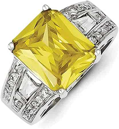 Lex /& Lu Sterling Silver Yellow /& Clear CZ Ring LAL43824