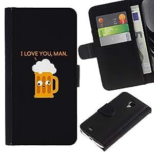 KingStore / Leather Etui en cuir / Samsung Galaxy S4 Mini i9190 / Cita de consumición divertido de la historieta