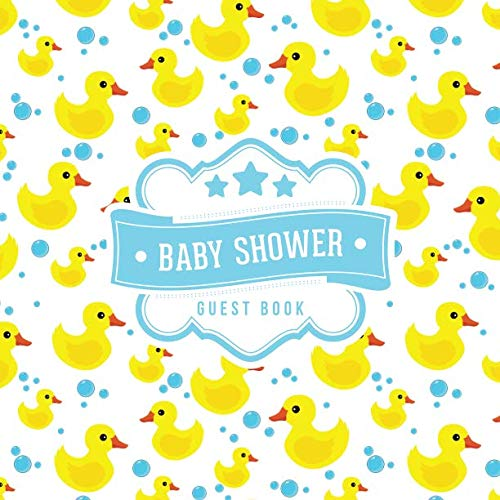 Baby Shower Guest Book: Rubber Duck Bubbles Pattern | + BONUS Gift Tracker Log | Keepsake Guestbook | Advice Wishes and Predictions