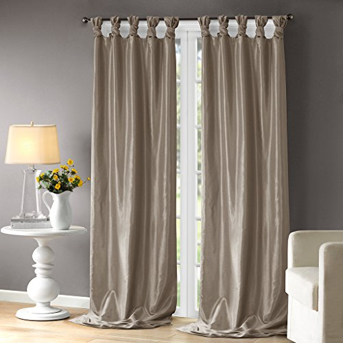 Pewter Living Room Set - Madison Park Emilia Room-Darkening Curtain DIY Twist Tab Window Panel Black Out Drapes for Bedroom and Dorm, 50x120, Pewter
