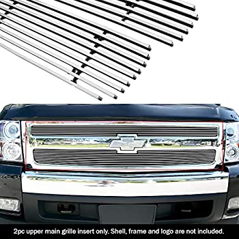 APS Compatible with 2007-2010 Chevy Silverado 2500 HD 3500 HD Stainless Steel Silver 8x6 Horizontal Billet Grille Insert Combo N19-C40876C