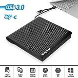 External DVD Drive, Kingbox Dual USB-C USB 3.0 Portable CD/DVD Writer Burner Optical