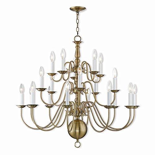 Livex Lighting 5019-01 Foyer Chandelier Williamsburg 20 Light, Antique Brass
