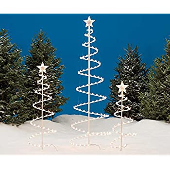 set of 3 lighted spiral christmas trees 3 ft 4 ft and 6 ft - 3 Ft Christmas Tree