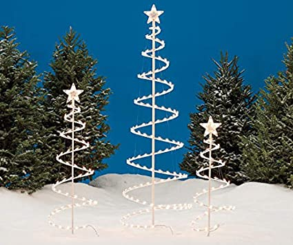 Outdoor Light Up Christmas Tree.Amazon Com 2 Sets Of 3 Lighted Spiral Christmas Trees 3