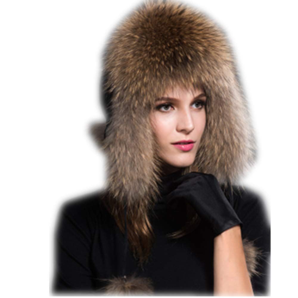 MH Bailment Womens Winter Hat Genuine Fox Fur Russian Hats Lei Feng hat (One Size, Raccon Fur)