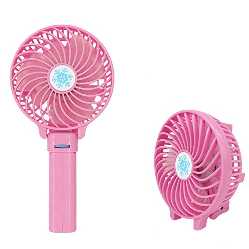 WALLER PAA Foldable Hand Fan Battery Operated USB Power Handheld Mini Fan with Hanger (Pink)