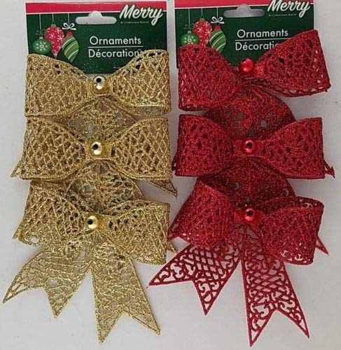 The Pecan Man 6 pcs Christmas Holiday Ornaments Decoration Glitter Bows Mica w Loops Gold and Red