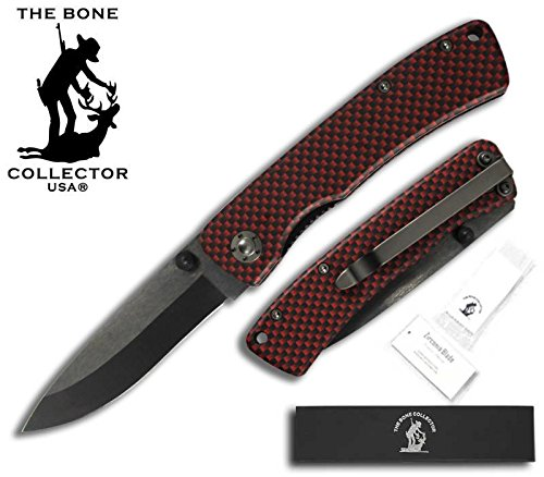 "Bone Collector BC-829-BR 3.75"" blk/Red Metal Handle 3"" black Ceramic Zirconia Blade Pocket Knife W/Belt Clip"