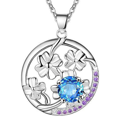 Blossom Pendant Lighting - Onefeart Sterling Silver Pendant Necklace Women Girls Blue Crystal Fashion Blossom Pendant 45CMx27X20MM