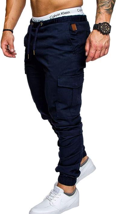Chickwin Hombre Pantalones de Casuales, Multi-Bolsillo Joggers ...