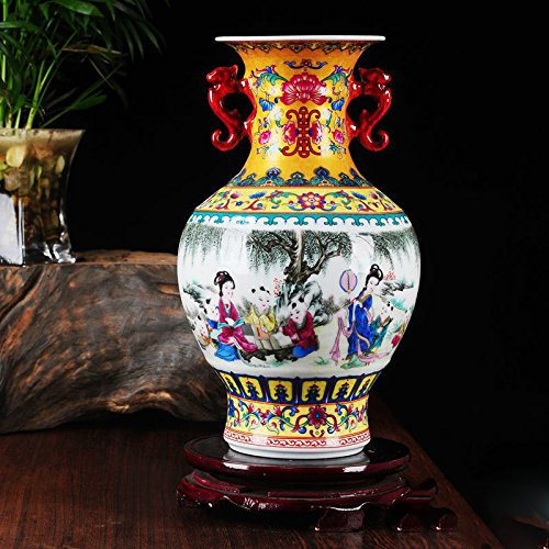 Chinese Porcelain Vase Flower Home Office Decor Hand Made and Hand Painted Porcelain ( Height: 8.6 inches )