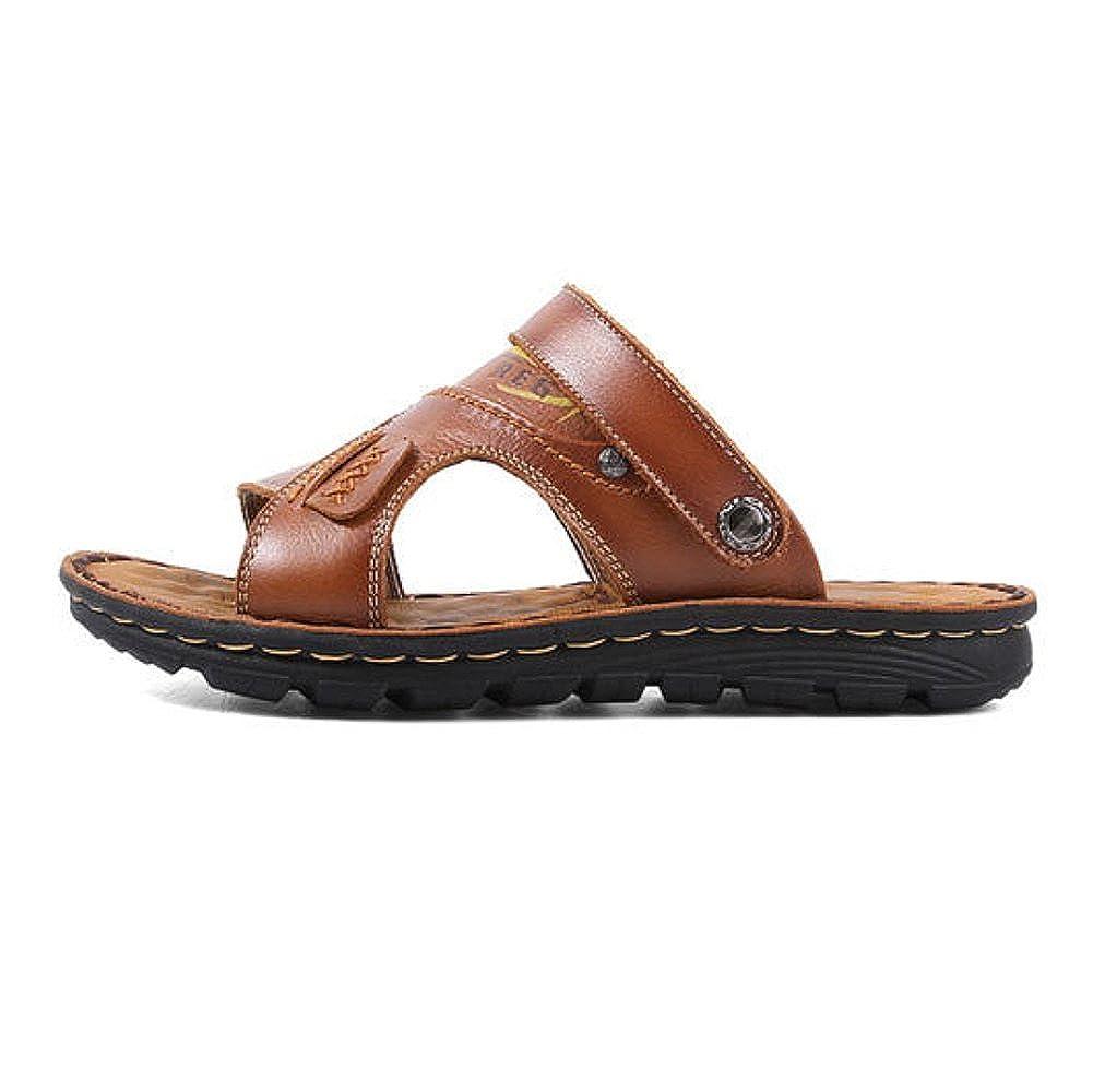 Männer Strandschuhe Outdoor Sommer und Freizeit Weiche Sole Sandalen und Sommer Hausschuhe Bequeme Tragbare Sandalen LightBraun f0771c