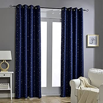 Jaoul Night Sky Twinkle Star Kids Blackout Curtains, Crommet Top Window  Drapes For Bedroom,