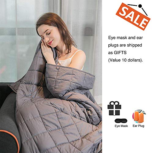 Cheap Daverose Promo   Upgraded 3.0   Cooling Weighted Blanket   Natural Organic Cotton   4 x4 Smaller Pockets   Adults Men Women   Full Size (Grey 48
