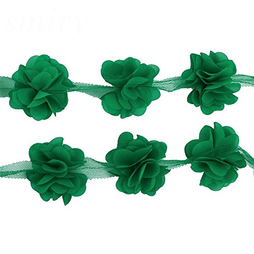 Green Flower Trim - Yalulu 5 Yards 3D Chiffon Cluster Flowers DIY Lace Trim Dress Decoration Tulle Fabric Applique Trimming Craft Sewing (Green)