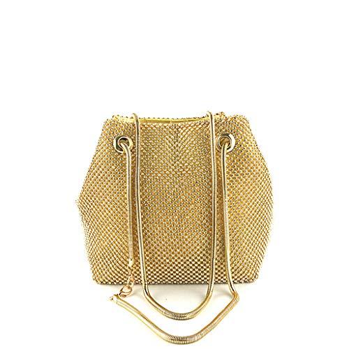 Designer Handbags Net - Oucan Women Evening Bag Net Diamond Sequins Skewed Bucket Bag Handbag Chain Bag