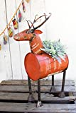 Red Recycled Metal Deer Planter/Beverage Cooler