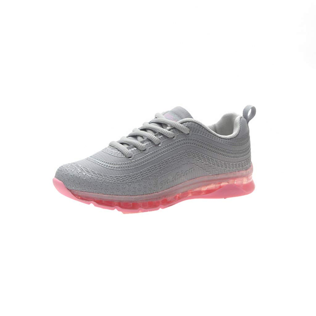 refulgence Running Sneakers, Fashion Women Flying Woven Running Mesh Lace-Up Casual Breathable Sports Shoes(Gray,US=5.5)