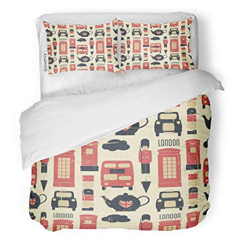 (MIGAGA Decor Duvet Cover Set Twin Size Union Vintage London Symbols British Jack Pattern Tea Soldier 3 Piece Brushed Microfiber Fabric Print Bedding Set Cover)