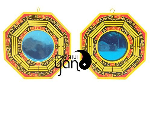 Feng shui mirror. FengShuiYan 4 Inch Bagua Mirror Set of 2 for Protection; One Concave Mirror for protection against passive negative energy & One Convex Mirror for protection against active harmful energy. #fengshui