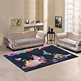 Love Nature Sweet Home Modern Collection Custom World Map Area Rug 7'x5' Indoor Soft Carpet