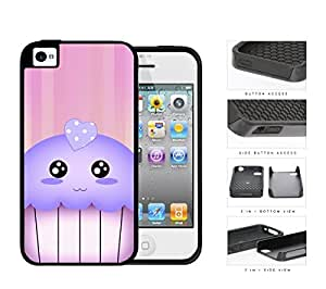 Kawaii Cupcake And Pink Vertical Stripes 2-Piece Dual Layer High Impact Rubber Silicone Cell Phone Case Apple iPhone 4 4s