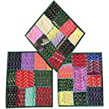 """Set Of 3 Boho Decorative Indian Throw Pillow Cases Cotton Embroidered Patchwork Cushion Cover 16 """" x 16 """""""