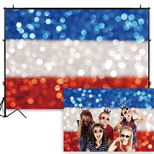Funnytree 7x5ft Durable Fabric Independence Day Backdrop No Wrinkles Bokeh Spots 4th of July American Flag Stripes Photography Background Patriotic National Holiday Decor Banner Photo Booth Props