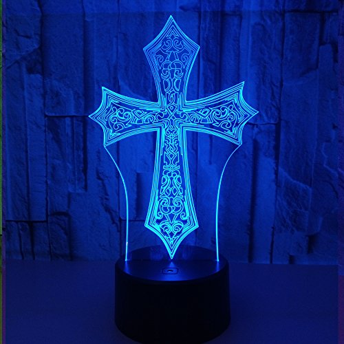 Beside Lamp Lamp Night Lights As a Gift 7 Colors Change LED for Desk Table with Multicolored USB Powered Home Decoration Best Gift for Children (Cross) by King's Bridal (Image #3)