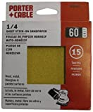 PORTER-CABLE 762800615 1/4 Sheet 60 Grit Adhesive-Backed Sanding Sheets (15-Pack)