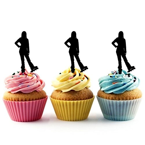 TA0163 Rollerskate Girl Silhouette Party Wedding Birthday Acrylic Cupcake Toppers Decor 10 -