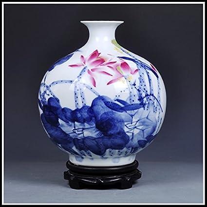 JHDH2-Cerámica Azul de flores secas de agua central-Pui-jarrones hogar salón